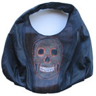 Whimsical  Black leather Hobo skull purse